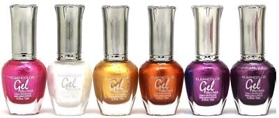 6 Kleancolor Full Size Metallic Lot NO UV LED GEL NAIL POLISH Colors Set