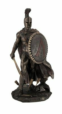 Spartan King Leonidas With Sword and Shield Bronzed Statue