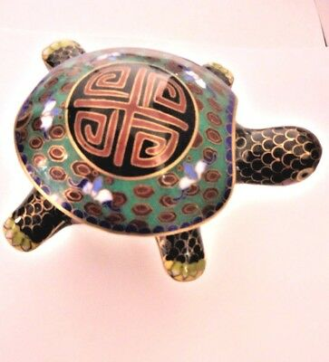 DOUBLE HAPPINESS Cloisonne Enamel TURTLE Green Cinnabar Red Black Gold Box