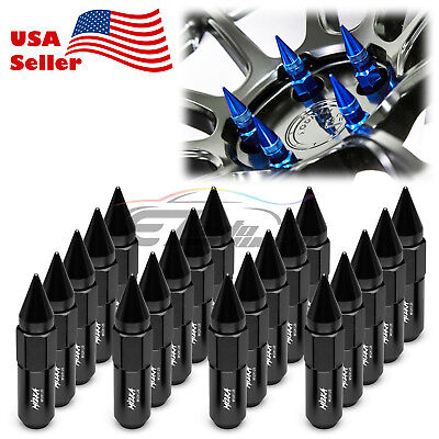 Black 20 PCS M12X1.25 Lug Nuts Spiked Extended Tuner Aluminum Wheels Rims Cap
