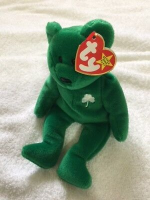 TY ORIGINAL BEANIE baby bear ERIN. New with tag 1997. Green beanie ... dd9ef975c2a4