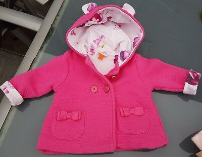 Ted Baker Baby Girls Pink Eared Quilted Coat/Jacket 0-3 Months