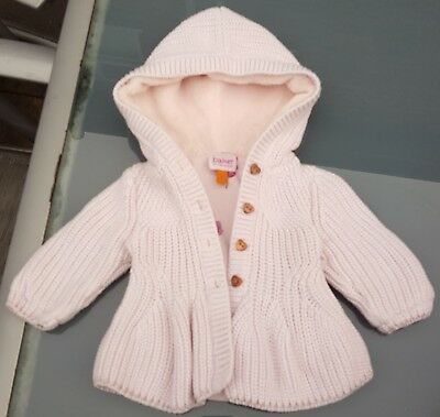 Ted Baker Baby Girls Pink Hooded Floral Lined Cardigan/Jacket 0-3 Months