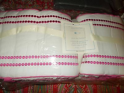 Pottery Barn Kids Pearl Dot Crib  Bumper, Bright Pink, New