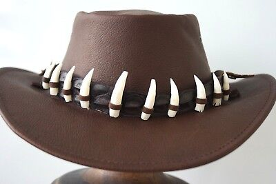 Crocodile Leather Hat Band 11Genuine teeth packed in tin Durable Brown HAT EXTRA