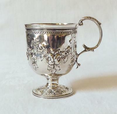 Fine Quality Embossed Silver Christening Cup London 1863 Drummond Family