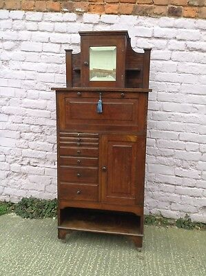 Rare English Oak Dentists/collectors Cabinet Good Condtion 99P Start No Reserve