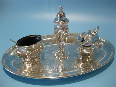 Stunning Antique Fine Quality Victorian 3 Piece Silver Plated Cruet Set on Tray