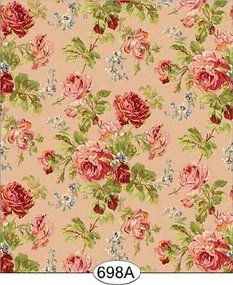 Dollhouse  Pink Floral Rose Garden Wallpaper