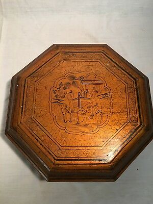 Antique Chinese Octagon  Box w/ 8 Wood Removable Compartments and Octagonal Ctr