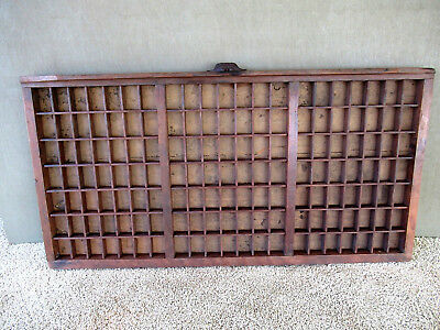 Antique Type Tray Primitive Printers Shadow Box, 147 Sections, Cast Iron Handle