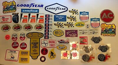 Vintage Automotive Stickers Large Lot Goodyear Fram Filters Chitwood Quaker Stat