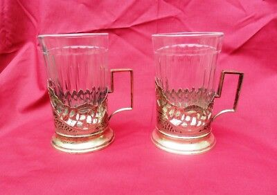 Russia Two Silver Glass Holders with original Glasses