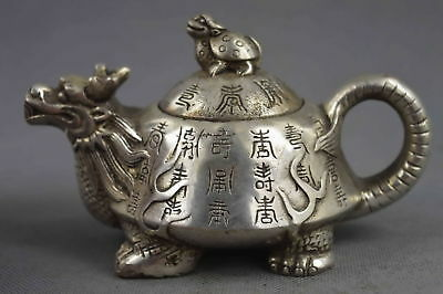 Collectable Handwork Decor Miao Silver Carve Dragon Tortoise Auspicious Tea Pot