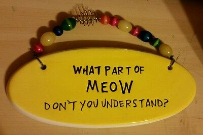 Cute Yellow Cat Meow Placard