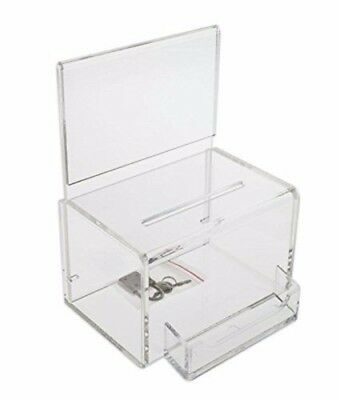 SourceOne Donation Box Oblong With Lock Keys Sign Holder and Business Card Ho...