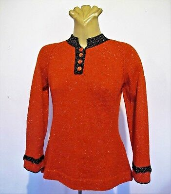 1950s Vintage Hand knit JUMPER Handmade Red Black trim Silver fleck SWEATER TOP