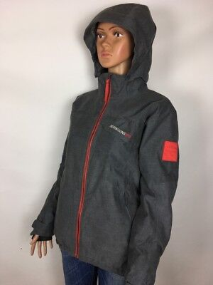 Women DIDRIKSONS STORM SYSTEM SKY SUIT Grey Hooded SKIING Jacket M Medium