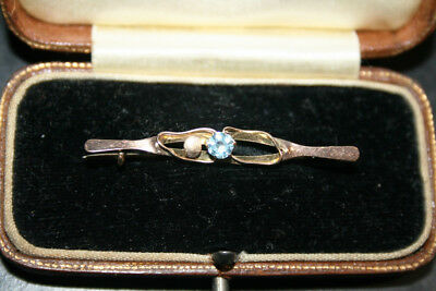 9ct GOLD BROOCH - ANTIQUE - BLUE STONE - UNKOWN - STAMPED