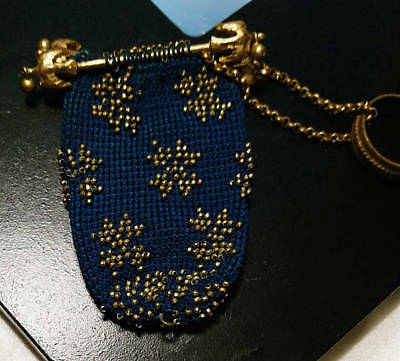 early 19th century evening purse, French antique gilt and beadwork purse