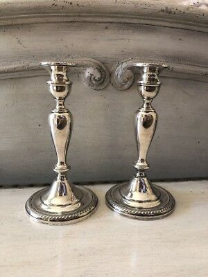 Set Of 2 Sterling Silver .925 Cement Filled Candlestick Holders Home Decor Lot