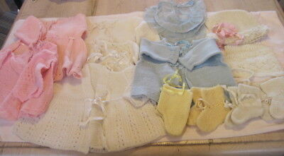 Lot of 17 Vintage Baby/Toddler Clothing Crochet Sweaters, Bonnets, Booties Etc.