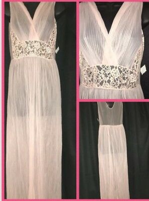 Vintage Rockabilly Pinup Babydoll Sheer Peignoir Negligee Long Night Gown ML