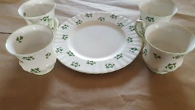 """Lot of 4 Royal Dover Made in England Cups No Saucers & One 8""""Plate Scallop Rim"""