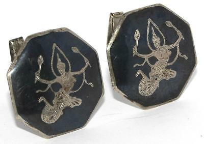 "Beautiful Estate Vintage WWII Era Large 1.14"" Siam Sterling Octagonal Cuff Links"