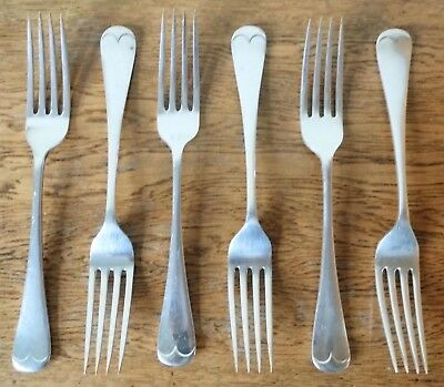 LOVELY VINTAGE 1930s MATCHING SET 6 BH Abrahams LONDON SILVER PLATE DINNER FORKS