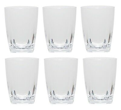 QG 16 oz Clear Acrylic Plastic Wine Glass Cup w/ Heavy Square Base Tumbler 6 pc
