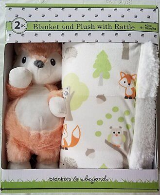 Luxury Super Soft Plush Blanket Set with Fox Rattle Toy for Baby and Toddler