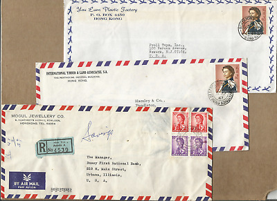 Hong Kong,scarce Lot Of 3 Qe2 Commercial Covers,all With Better Cancels To Us
