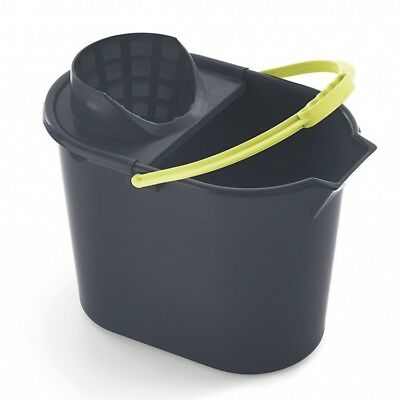 Bucket With Wringer Hard Plastic For Cleaning Grey And Lime Color Free Postage