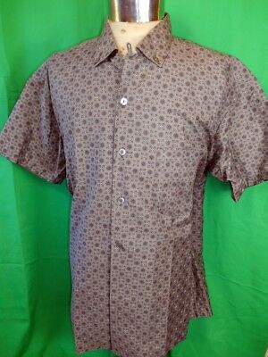 Vintage 50s 60s Grey Patterned Cotton Short Sleeve Casual Summer Shirt XXL NOS