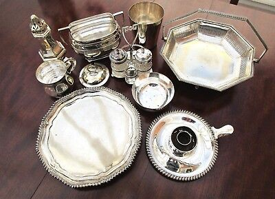 JOB LOT OF 10 PCS VINTAGE ANTIQUE SILVER PLATE ITEMS HALLMARKED 2.3kg IN WEIGHT