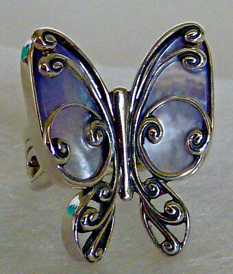 Carolyn Pollack Blue Mother Of Pearl Butterfly Sterling Silver Ring Size 5