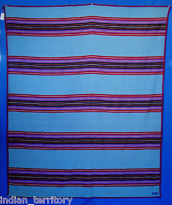 "Pendleton Blanket Summer Shawl, Striped, Blue c.1930 61"" x 75"""