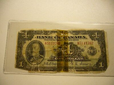 1935 Bank of Canada - $1.00 Osborne - Towers. Banknote Taped