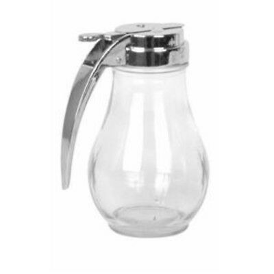 Glass Syrup Dispenser Honey Handle Pitcher Clear Jar Cast Zinc Top 14-Ounce New