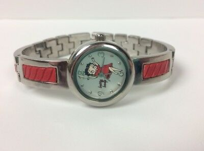 Betty Boop Wrist Watch Valdawn BB5133 Red Silver Tone Stainless Steel
