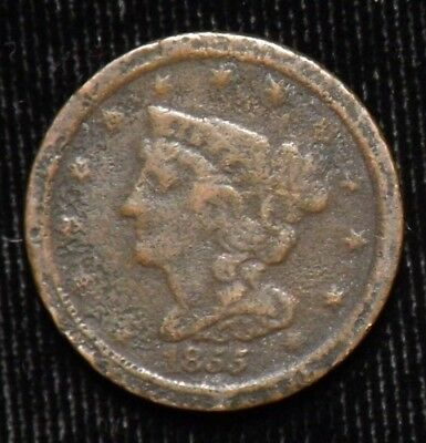 1855 United States Half Cent  Circulated  Pitting and Corrosion