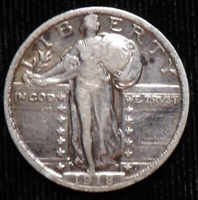 1918 P Standing Liberty Quarter  VF  Lightly Cleaned
