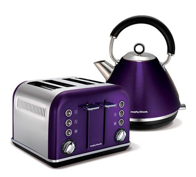 NEW Morphy Richards Plum Accents 4 Slice Toaster and Kettle Stainless Steel Set