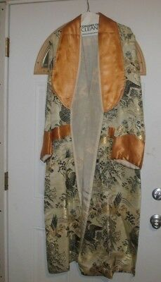 Old Antique Asian Chinese Silk Robe Wartime? Birds Trees Lined Very Nice