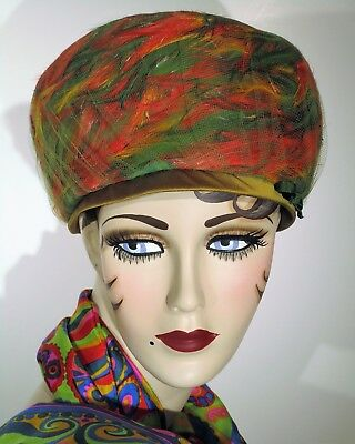 Vintage Feather Bubble Hat Mod Lime Green, Orange, & Yellow Swirl Union Made