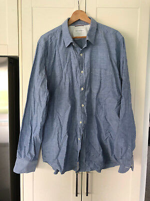 TRENERY blue chambray speckle mens work dress shirt - size XXL