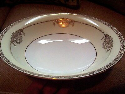 Noritake Bancroft Gorgeous Gold On Beige Large Round Vegetable Serving Bowl MINT