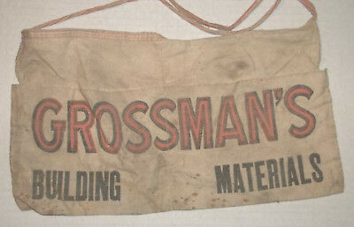 VINTAGE ADVERTISING GROSSMANS COMPANY NAIL APRON 1950s 60s  Building Materials