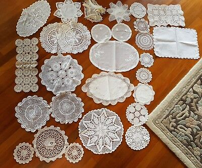 Vintage Ov 25p Bulk Hand Crochet Doilies Point De Venise Organdy Embroidered Lot